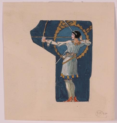 "Sergius HRUBY - Painting - ""Archer"", 1900, Gouache"