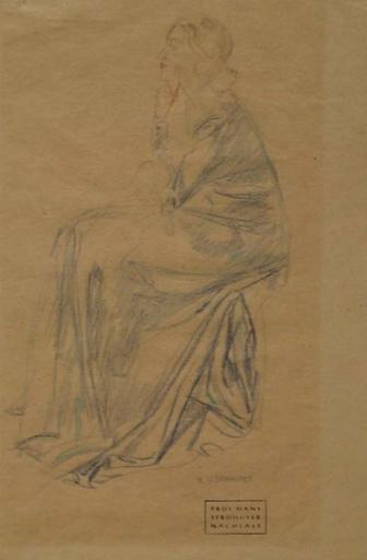 "Hans STROHOFER - 水彩作品 - ""Study of a Woman"" by Hans Strohofer, ca 1930"