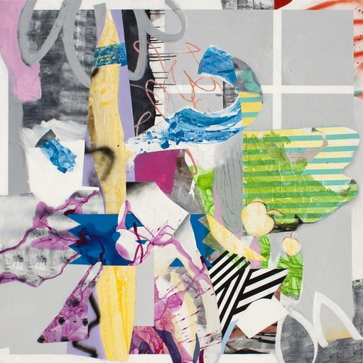 Fiona ACKERMAN - Painting - Paper House - A lively and colorful collage composition