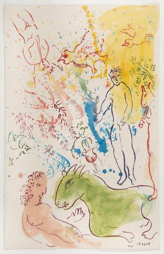 Marc CHAGALL - Painting - La fête autour du nu rose