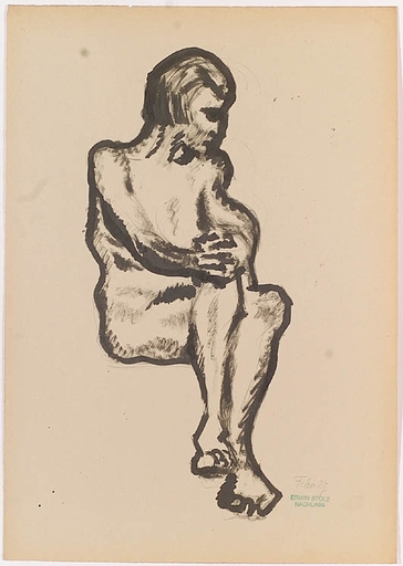 """Erwin STOLZ - Zeichnung Aquarell - """"Female Nude"""", Drawing, 1927"""
