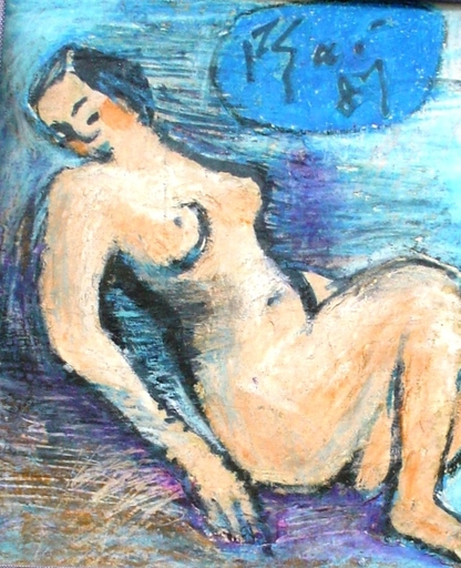 Xuan Phai BUI - Painting - nude in blue