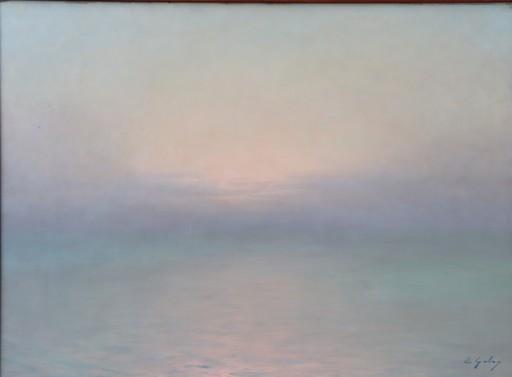 """Edouard GELOS - Pintura - """"COUCHER DE SOLEIL DANS LA BRUME A GUETHARY"""""""