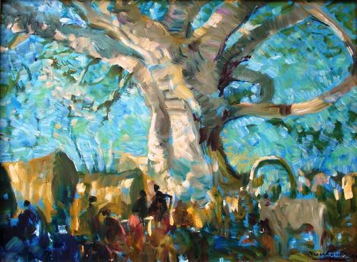 余龍義 - 绘画 - night rest under Banyan tree
