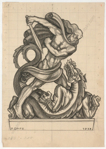 """Ferdinand OPITZ - Dibujo Acuarela - """"Project for a sculpture"""", charcoal drawing, 1938"""