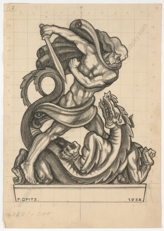 "Ferdinand OPITZ - Dibujo Acuarela - ""Project for a sculpture"", charcoal drawing, 1938"