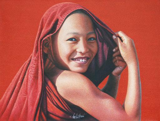 Aung Kyaw HTET - Pintura - A Warm Smile