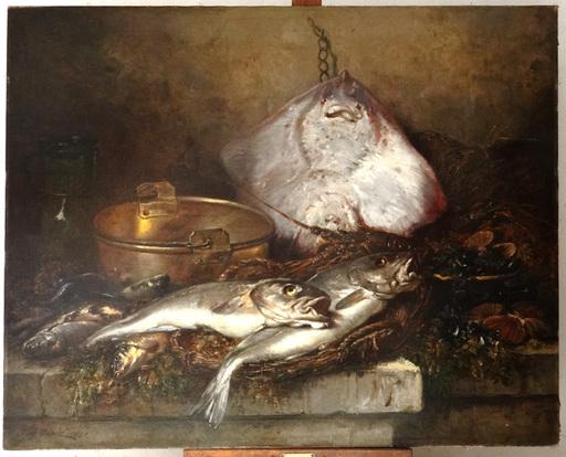 Eugène CLAUDE - Pintura - HST nature morte Eugène Claude raie homard poissons