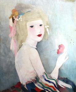 Marie LAURENCIN - Painting - Portrait de Jeune Femme