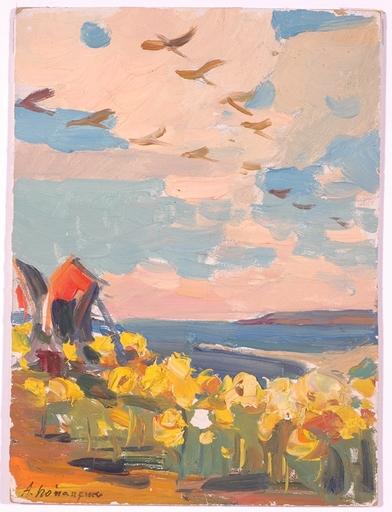"Andrei Ilech POTAPENKO - Pittura - ""Coastal Plantage"", Oil Painting, 1950s"