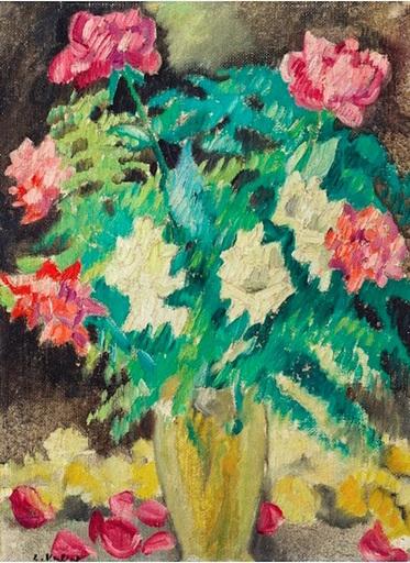 Louis VALTAT - Gemälde - Vase cristal, roses