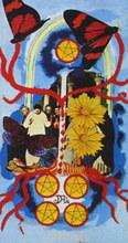 Salvador DALI - Zeichnung Aquarell - Five of Pentacle