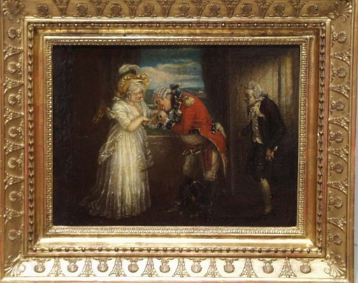 "Gemälde - ""Kiss the Hand"" attrib.to Robert Smirke, early 19th Century"