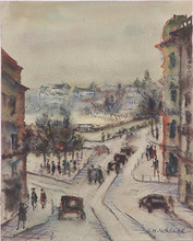 "Ernst Michael WAGNER - Dibujo Acuarela - ""Cityscape"", 1950s"