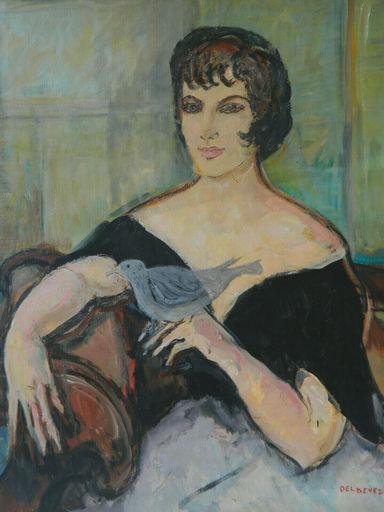 Jean DELDEVEZ - Painting - FEMME - WOMAN