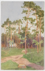 "Eduard SANDER - Pittura - ""Forest Edge"" by Eduard Sander, early 20th Century"