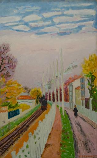 Jules CAVAILLES - Peinture - Le Train de Banlieue