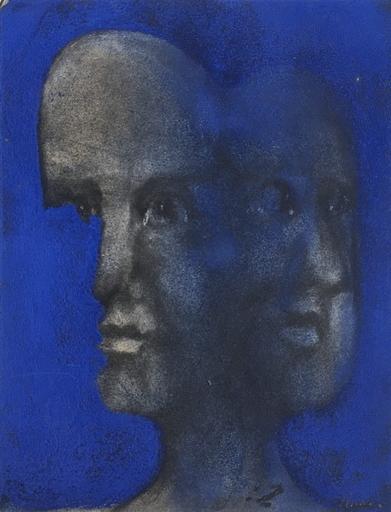 Jacques LUCAS - Drawing-Watercolor - Portrait bicéphale