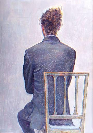 Catherine COCHY DE MONCAN - Peinture - Personnage tournant le dos