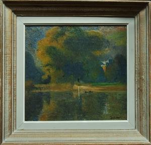 Joseph DELATTRE - Gemälde - Bras de Seine face à Petit Couronne