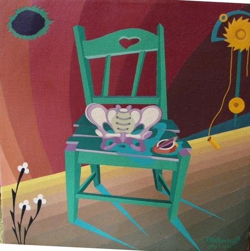 Constantin PLATOUNOFF - Pittura - Chaisses Surealiste à motifs Maçonnique