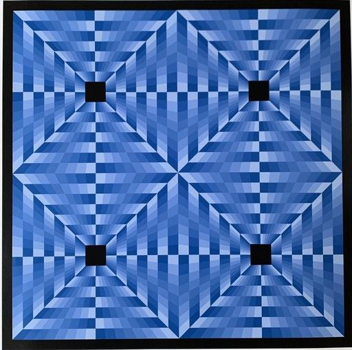 Jim BIRD - Print-Multiple - Jim Bird - tribute to Vasarely 6 blue