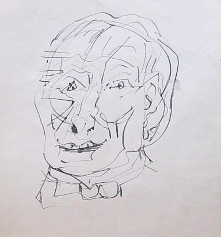 Karl KLUTH - Dibujo Acuarela - Skurriles Gesicht