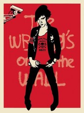 """Shepard FAIREY - Estampe-Multiple - """"Writing on the wall"""" (red version)"""