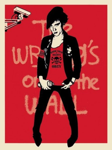 "Shepard FAIREY - Druckgrafik-Multiple - ""Writing on the wall"" (red version)"