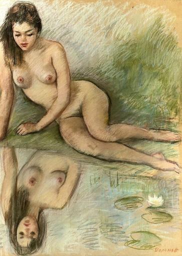 Boris Anatolievich SHOLOKOV - Disegno Acquarello - Nude by the lily pond