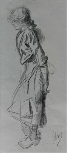 Jules CHÉRET - Dibujo Acuarela - Jeune femme de profil