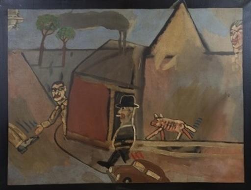 Antonio SEGUI - Pintura - Hommes et chien dans la rue