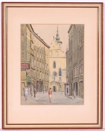 "Karl Viktor MAYR - Dessin-Aquarelle - ""Weihburggasse in the 1. Bezirk of Vienna"", Watercolor, 1943"