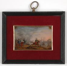 "Carle VERNET (Attrib.) - Miniatura - ""Skirmish of French and Mamelukes"", verre-fixe miniature"