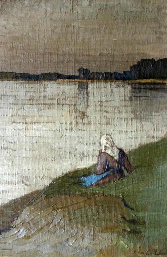 Jehan LE LIEPVRE - Pittura - Femme au bord de l'eau
