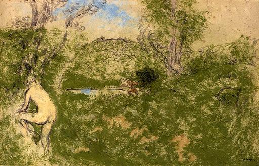 Ker Xavier ROUSSEL - Dibujo Acuarela - Femme nue dans un paysage