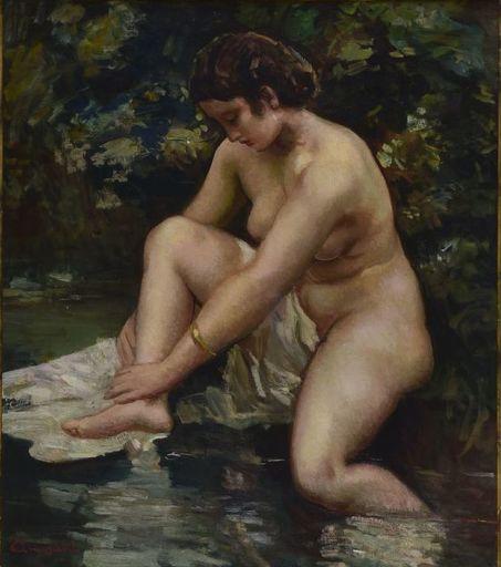 Giuseppe AMISANI - Gemälde - Donna al bagno