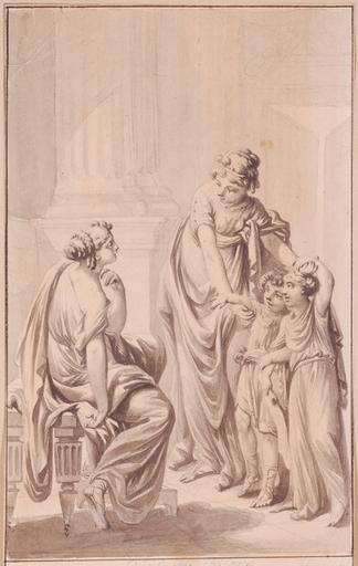 Johann Eleazar SCHENAU - Dibujo Acuarela - Drawing