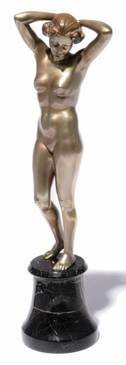 Josef LORENZL - Escultura - Modelled as a naked woman with her hands behind her head