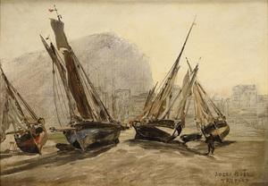Jules Achille NOËL - Painting - Barques de pêche échouées au Tréport