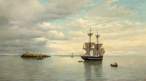 Oscar KLEINEH - Painting - Calm Seas 1879