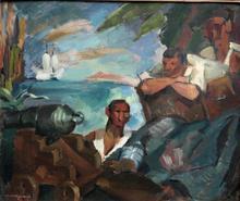 Jean MARQUERIE - Pittura - L'ILE AU TRESOR