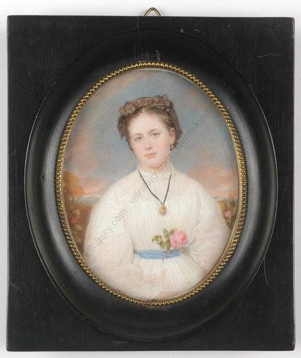 """Emanuel Thomas PETER - Miniature - """"Lady in white gown"""", miniature on ivory, 1862"""