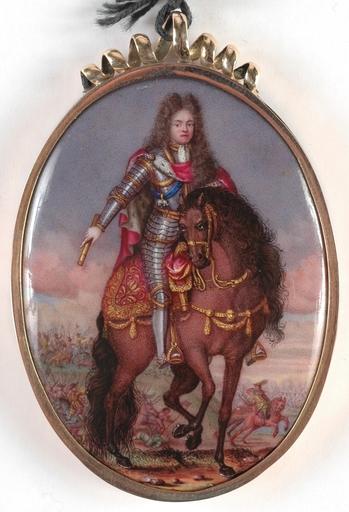 "Josias BARBETTE - Pittura - ""Portrait of the King Frederik IV"" important enamel miniatur"