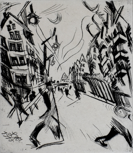 Ludwig MEIDNER - 版画 - Street in Wilmersdorf, from: The Creators