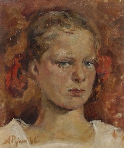 "Arkadi RUSIN - Gemälde - ""Portrait of a Girl"", 1946, Oil Painting"