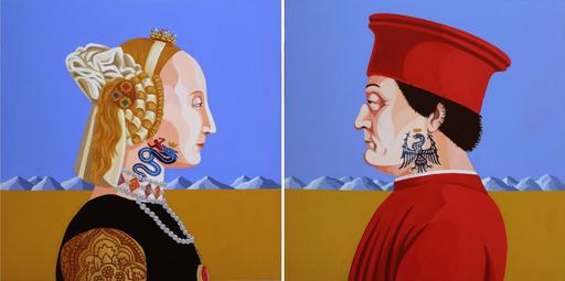 Giuseppe VENEZIANO - Peinture - Battista Sforza e Federico da Montefeltro