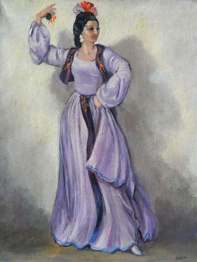 Roger FAVIN - Painting - DANSE - FLAMENCO