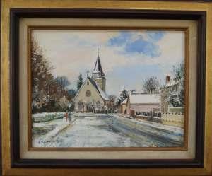 Marcel CRAMOYSAN - Gemälde - Neige, Eglise de Bois Guillaume