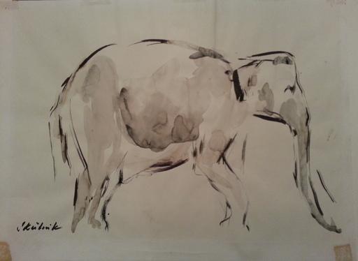 Oswin SKUTNIK - 水彩作品 - Etude d'éléphant